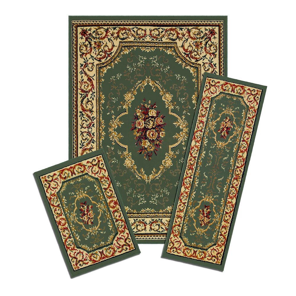 Capri 3 Piece Area Rug Set Green Persian Carpet 40 372g Ebay
