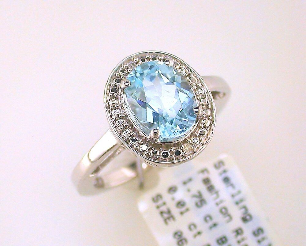 oval blue topaz solitaire with diamond accents ring. Black Bedroom Furniture Sets. Home Design Ideas