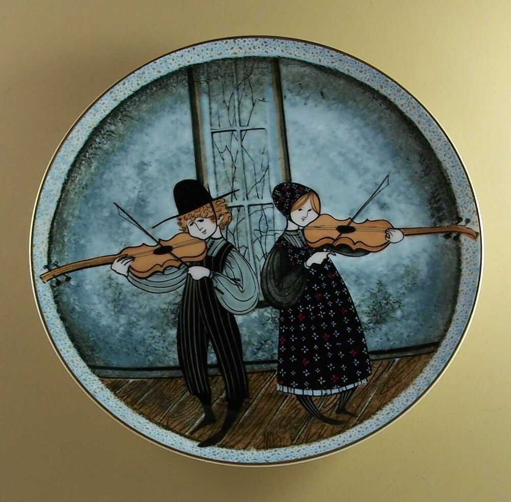 Autographed p buckley moss fiddlers two first art plate children