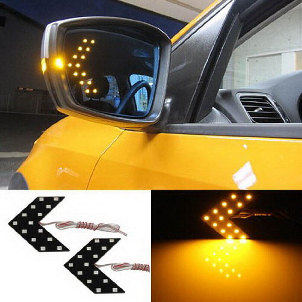 2 Amber 14 Smd Led Arrow Lights For Car Side Mirror Turn