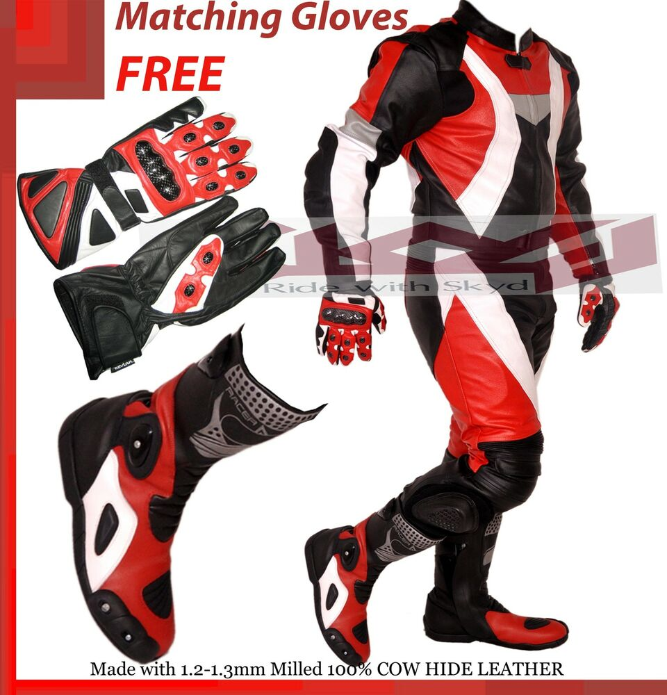 Motorcycle Racing Leather Suit Red And Black Suit Boots