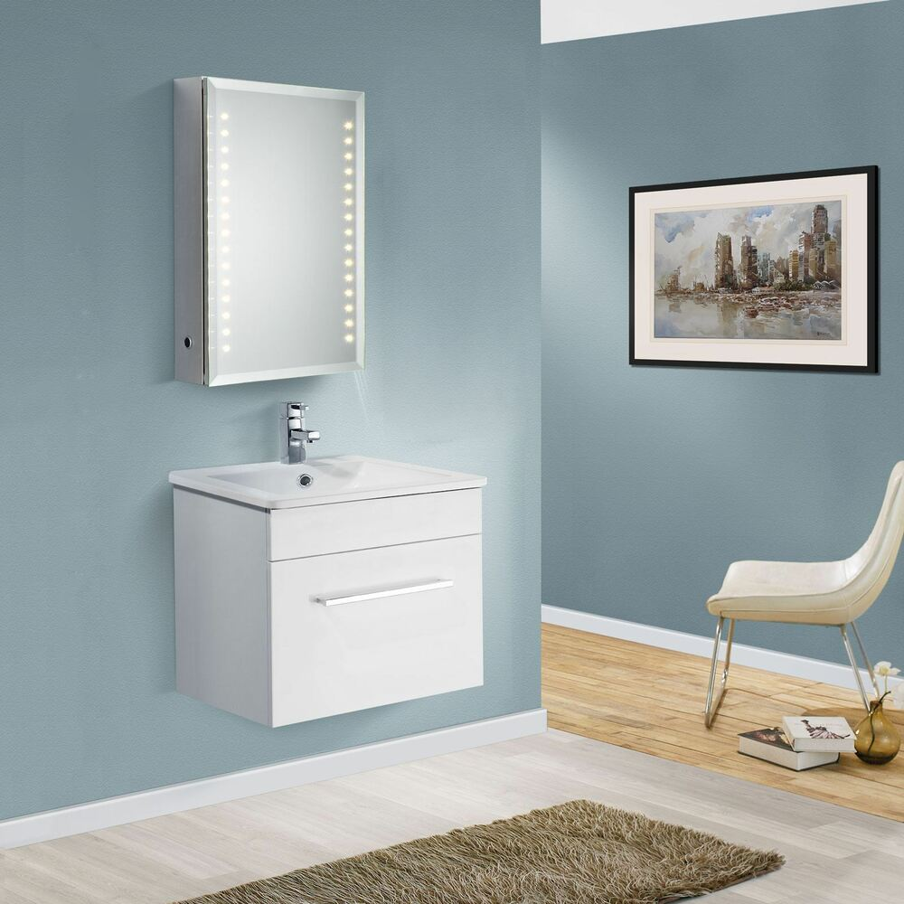 white gloss wall hung unit bathroom vanity furniture mdf ebay