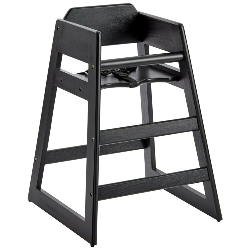 Baby chair for restaurant - Restaurant Stackable Style Wooden High Chair Espresso Black Finish Ebay
