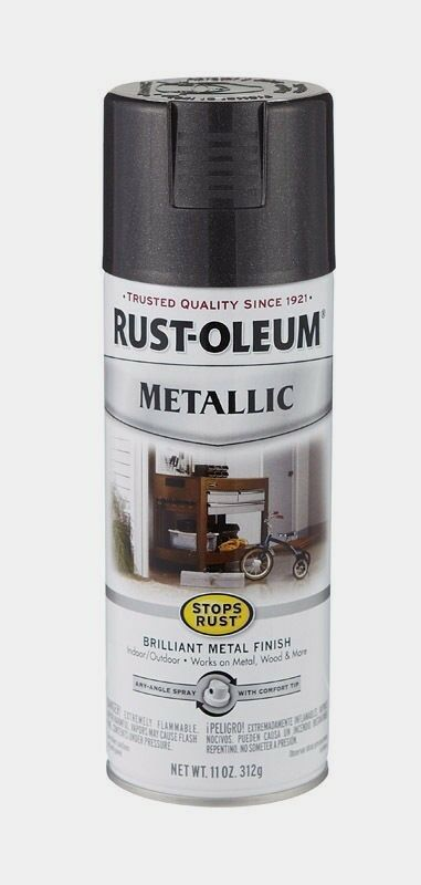 Rust oleum black metallic spray paint stops rust indoor outdoor 11 oz 7250 830 ebay for Rustoleum exterior metal paint