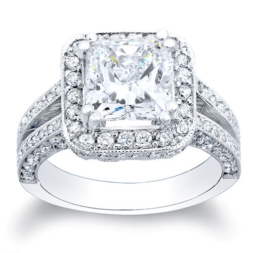 2 13 Ct Princess Cut Pave Diamond Halo Engagement Split