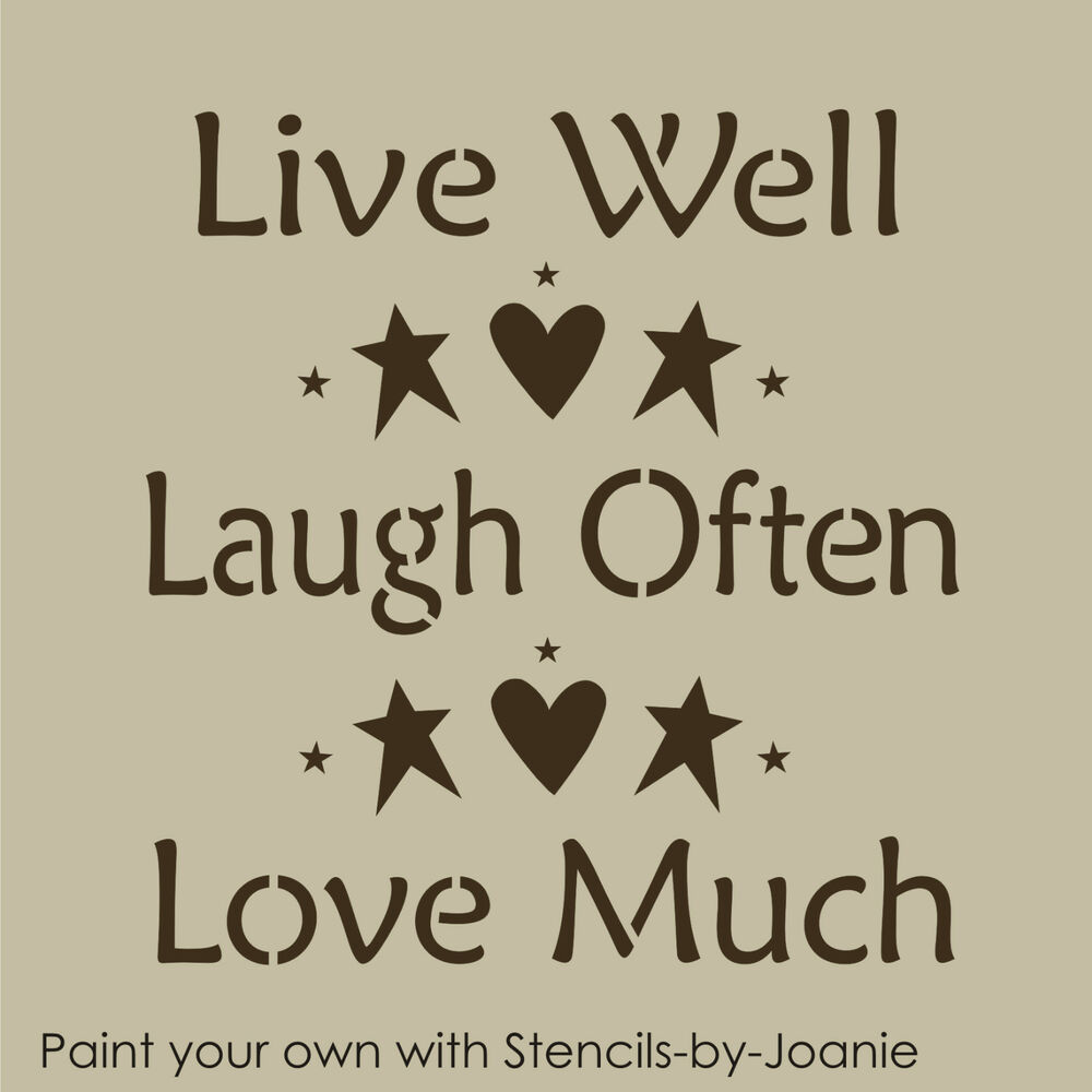 stencil live well laugh often love much heart stars prim country beach home sign ebay. Black Bedroom Furniture Sets. Home Design Ideas