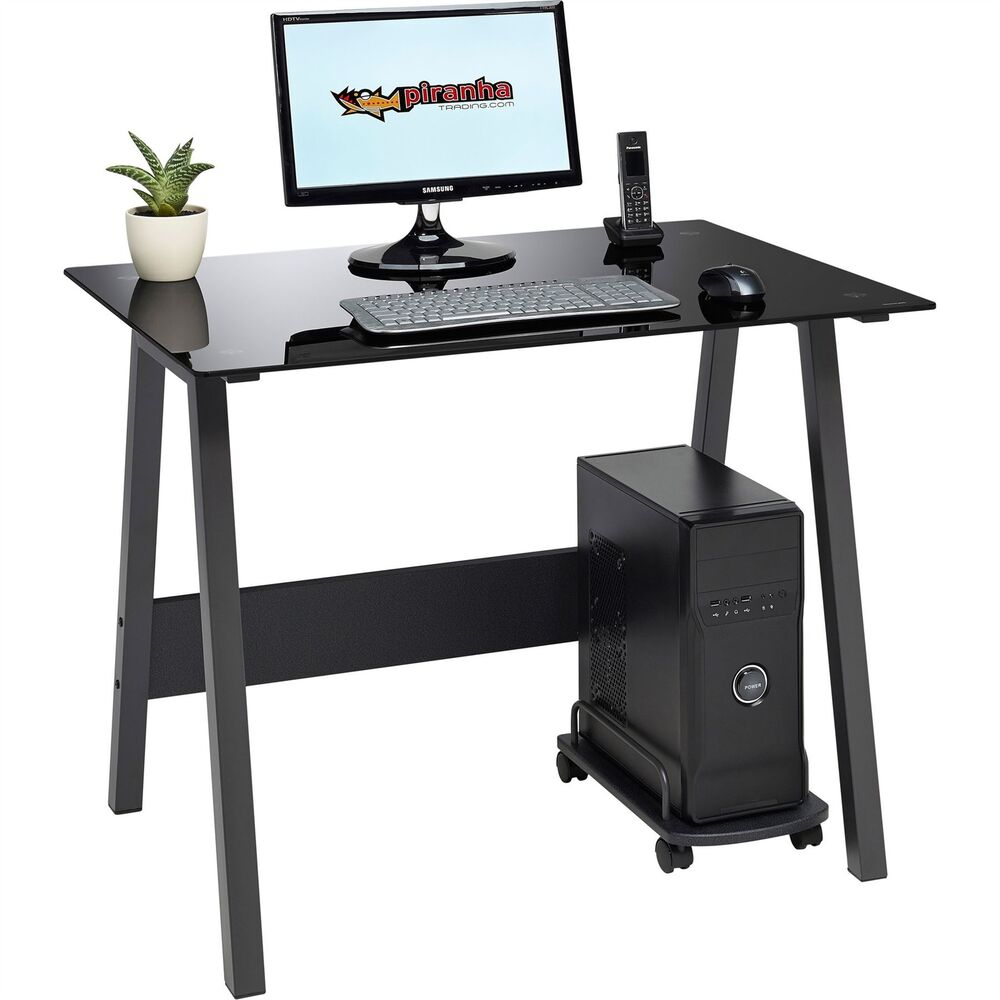 compact black glass computer desk home office furniture