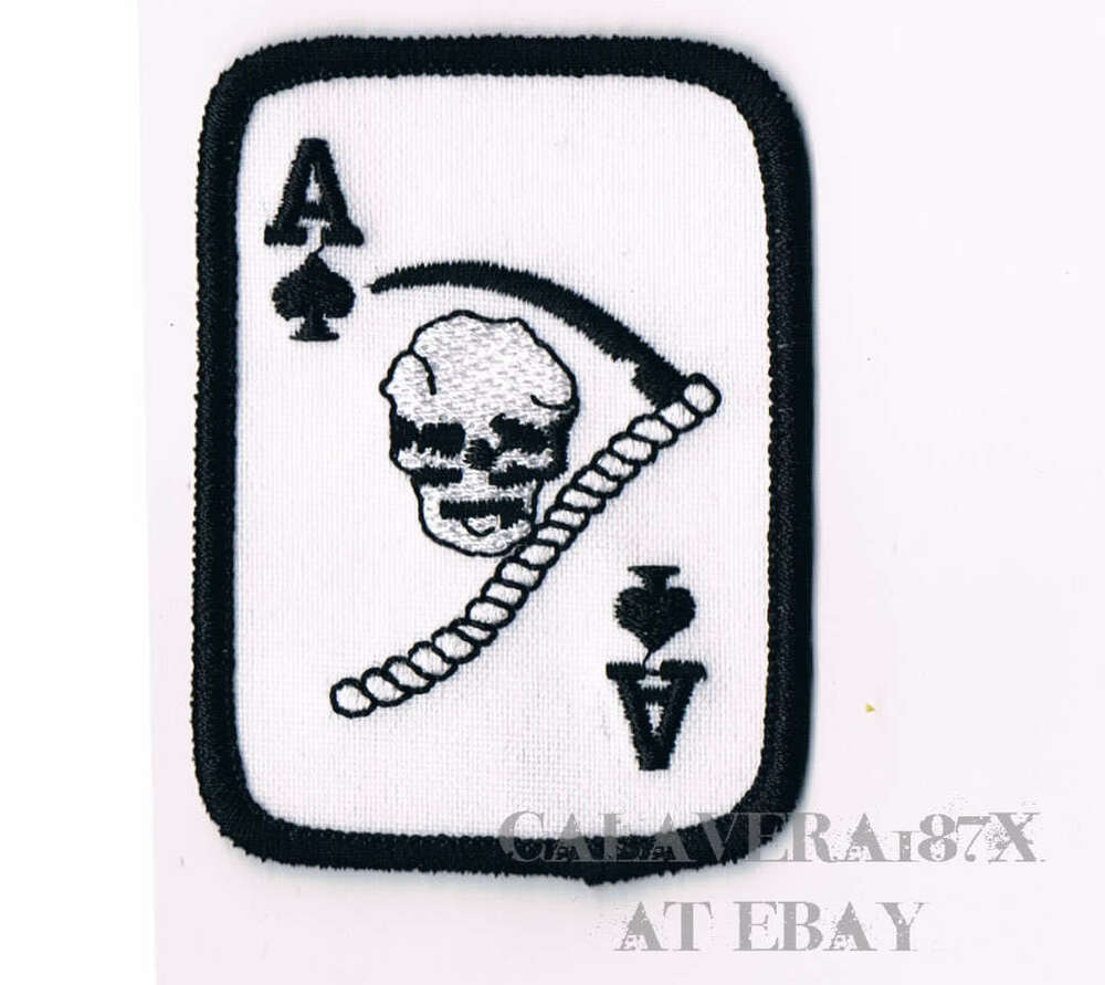 Ace Spades Iron-On Patch Grim Reaper Angel Of Death Card