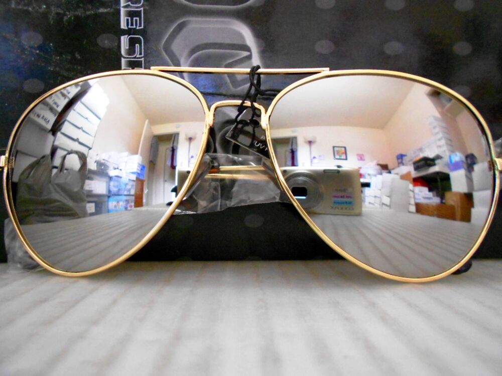 Mirrored Aviator Sunglasses Silver Mirror Lenses Gold ...