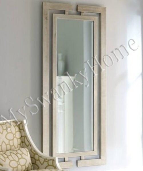 Extra long contemporary silver leaf wall mirror modern for Large silver modern mirror