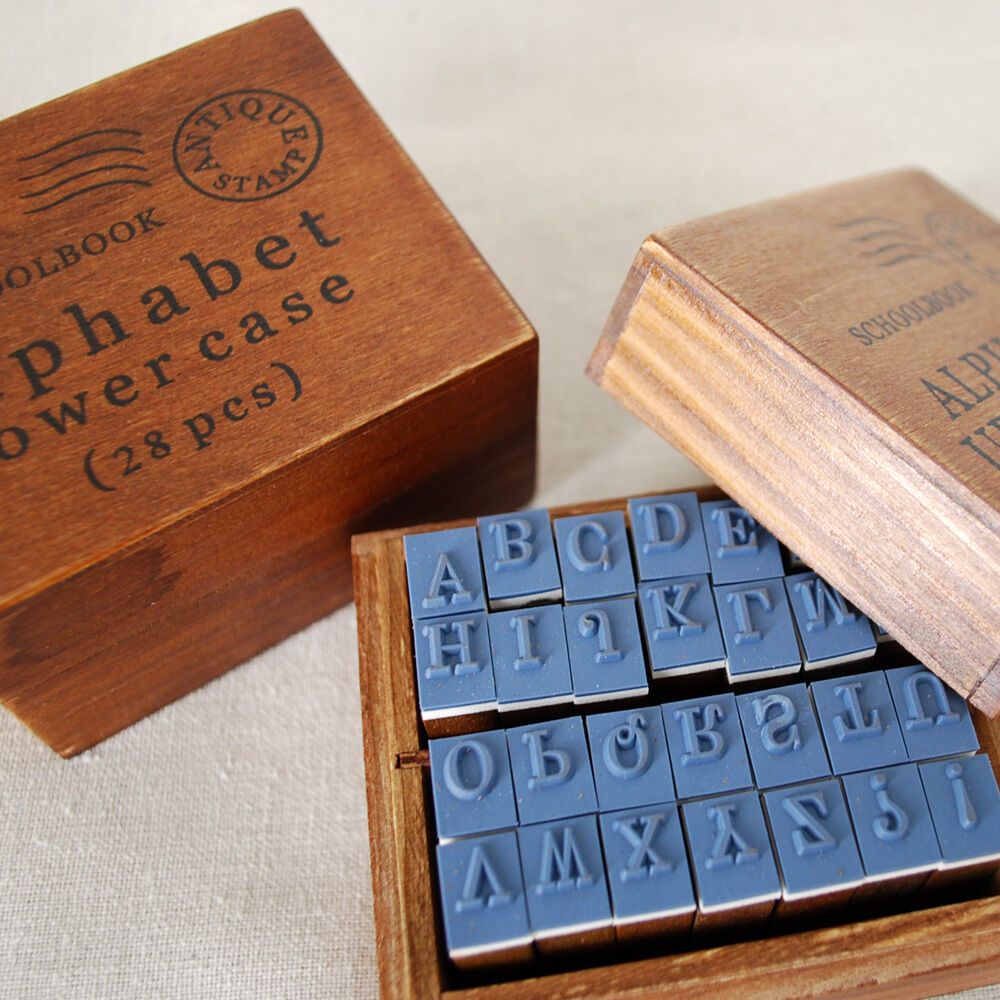 Antique Style Wood Rubber Stamp Box Set Schoolbook