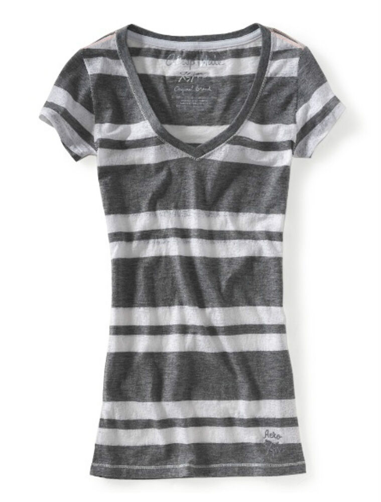 Aeropostale girls striped v neck tee top shirt small grey for Purple and black striped t shirt
