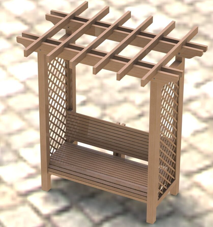 ... Arbor Trellis with Bench Woodworking Plans - Easy to Build | eBay
