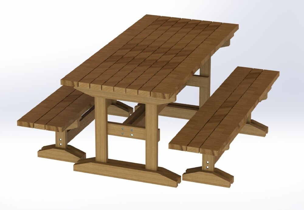 ... Trestle Style Picnic Table with Benches Plans - Easy to Build | eBay