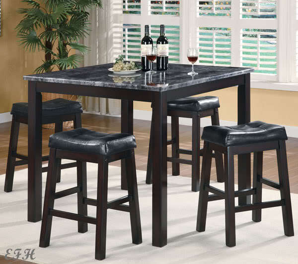 New 5pc sophia faux marble top black finish wood counter for High top dinette sets