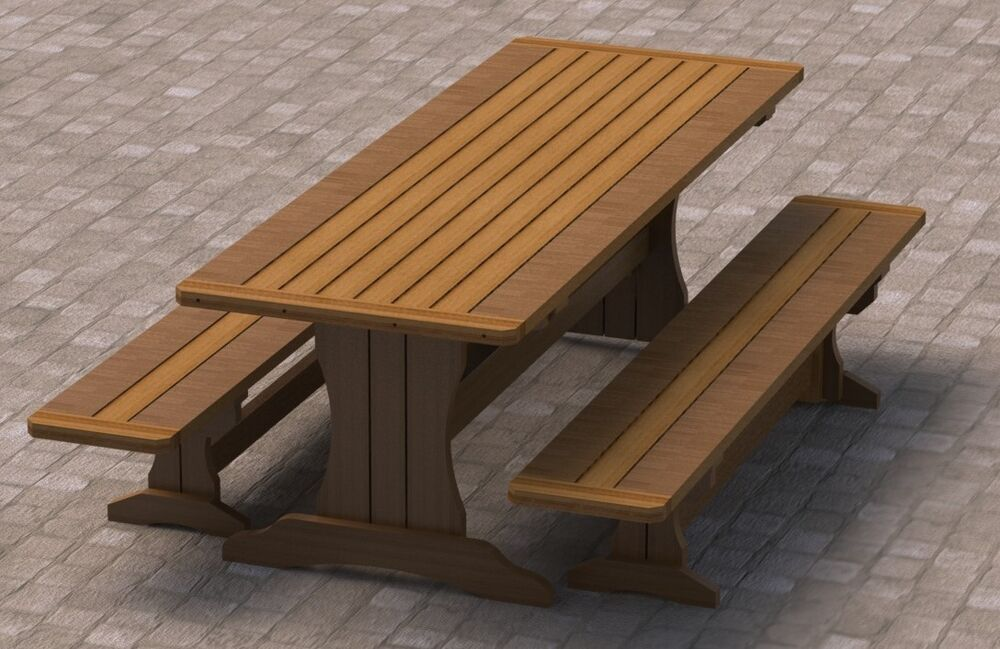 8ft Trestle Style Picnic Table With Benches 002 Building Plans Easy To Build Ebay