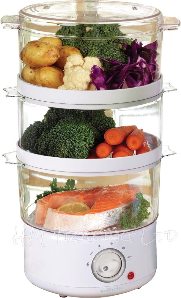 Electric Veggie Steamer ~ Tier litre capacity w electric white food