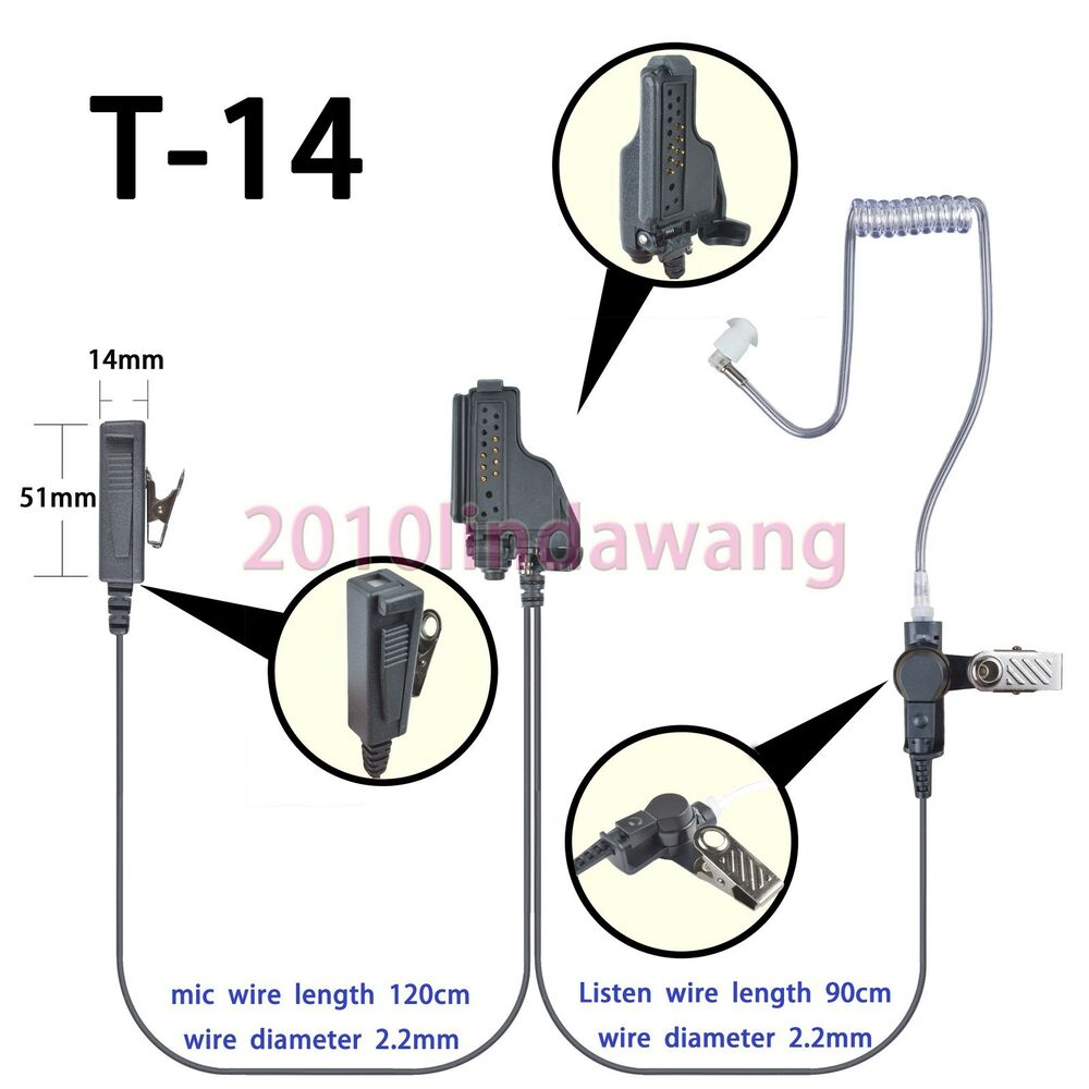 2-wire Surveillance Earpiece For Motorola XTS2250 XTS2500 XTS4250 Portable  Radio | eBay