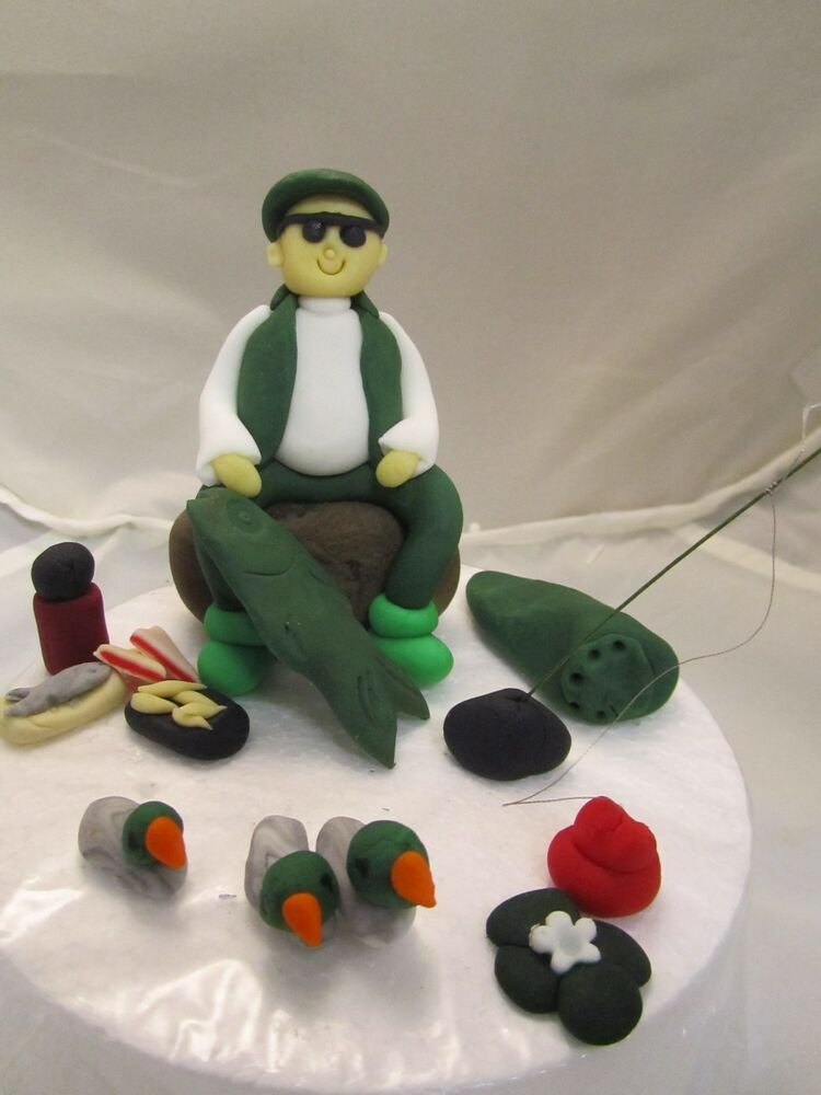Cool fisherman fishing edible funny birthday cake topper for Fishing cake toppers