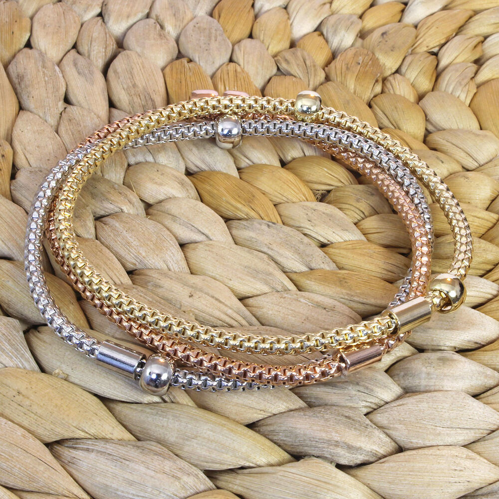 white yellow pink gold over sterling silver flexible mesh