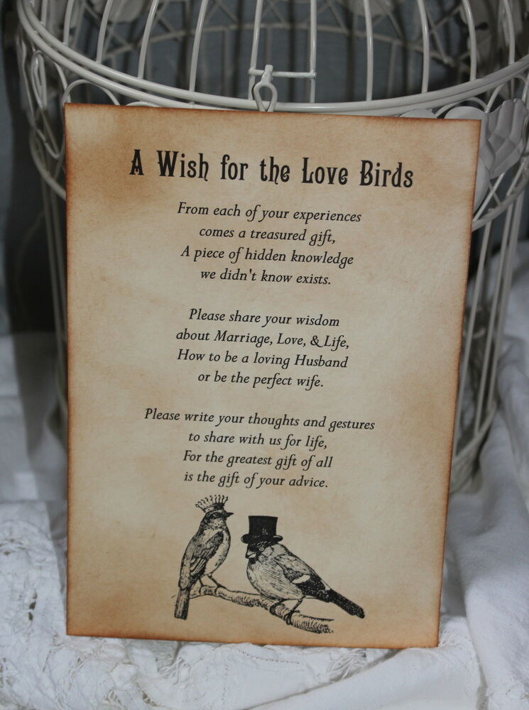 LOVE BIRDS-Wedding-Wish Poem-Birdcage-Vintage Style-Unique ...