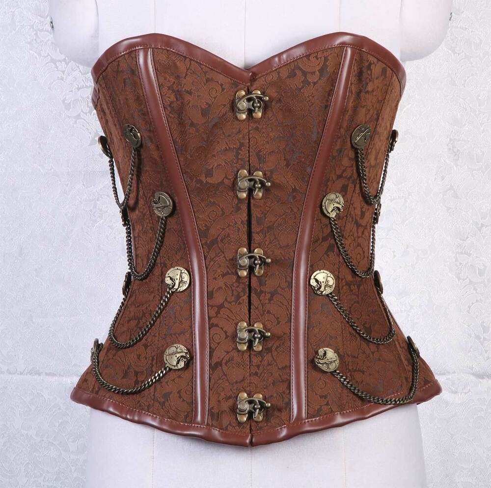 Sturdy Antique Clasp Steel Boned Steampunk Overbust Corset ...