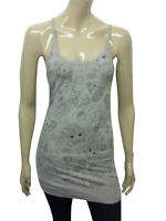 Womens Long Vest Camisole Strappy Top Kitten Print - Grey Size 8 - 18 Ladies A10