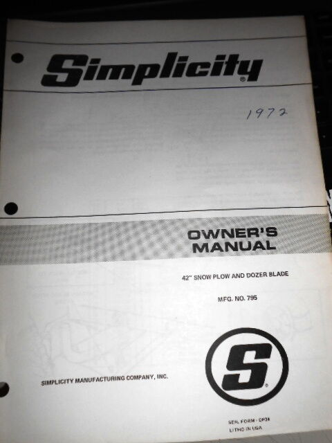 Simplicity Zt1644 Owners Manual