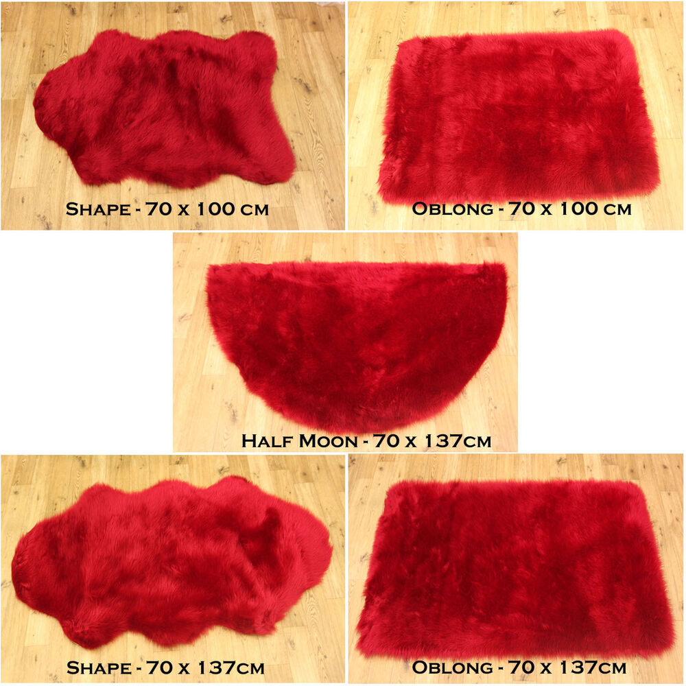 NEW SOFT FLUFFY PLAIN WASHABLE RED COLOUR FAKE FAUX FUR