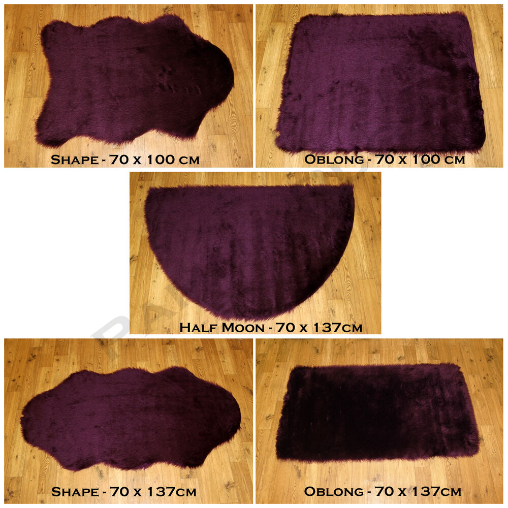 Washable Sheepskin Rugs For Dogs: NEW PLAIN FLUFFY WASHABLE SOFT FAKE FAUX FUR AUBERGINE