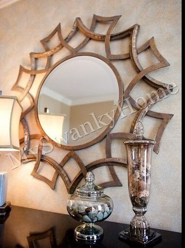 Contemporary 40 Quot Geometric Sunburst Wall Mirror Round