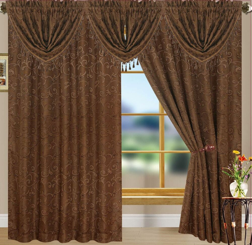 Kennedy Jacquard Curtains And Waterfall Valances Ebay