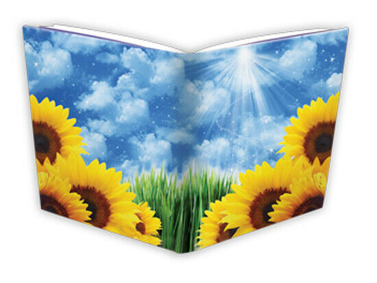 White Stretchable Book Cover : Extreme yellow sunflowers blue sky white clouds stretch