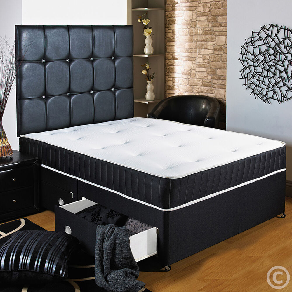 4ft 6 Double Black Divan Bed Sprung Memory Foam Mattress Headboard Drawers Ebay