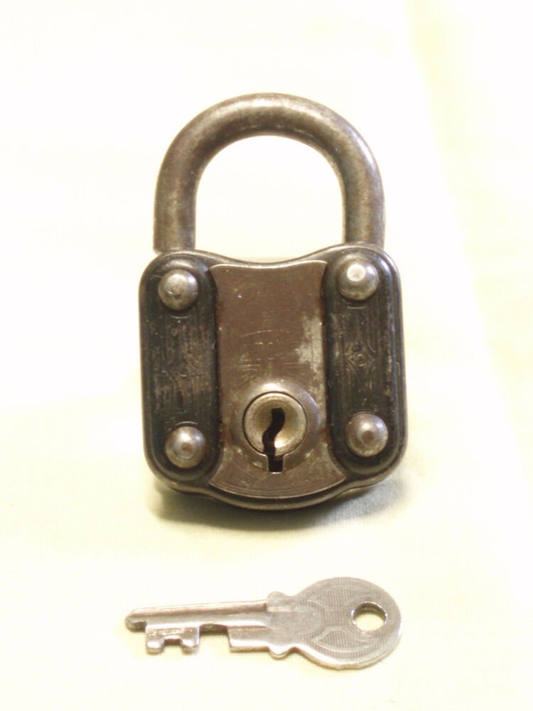 Antique german 1 tour padlock lock key metal scarce hand for Door lock germany