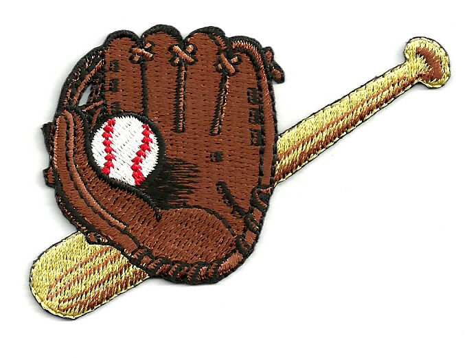 baseball baseball glove bat ball fully embroidered iron on patch ebay. Black Bedroom Furniture Sets. Home Design Ideas