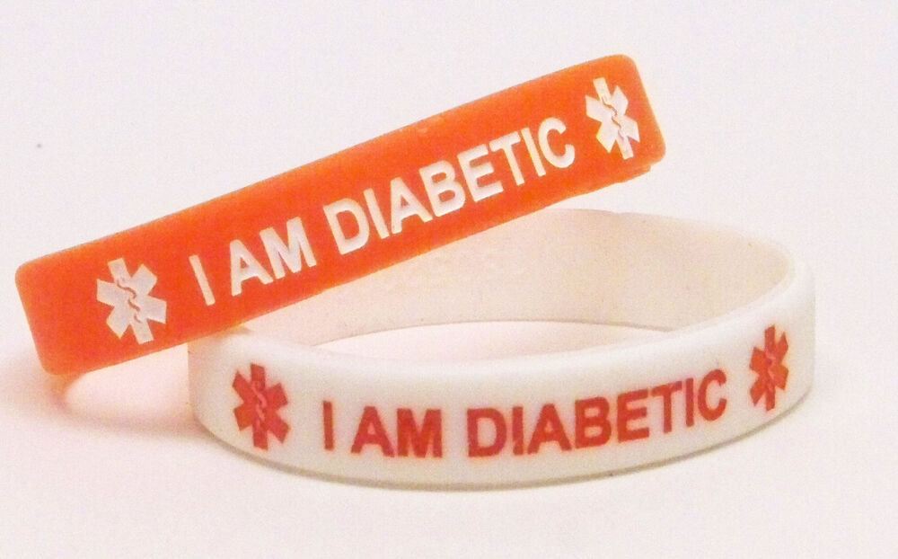 Diabetic Medical ID Bracelet Lot of 2 Red and White Alert ...