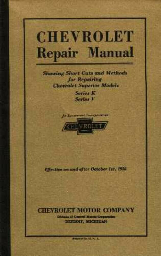 1925 1926 Chevrolet Car Truck Shop Service Repair Manual