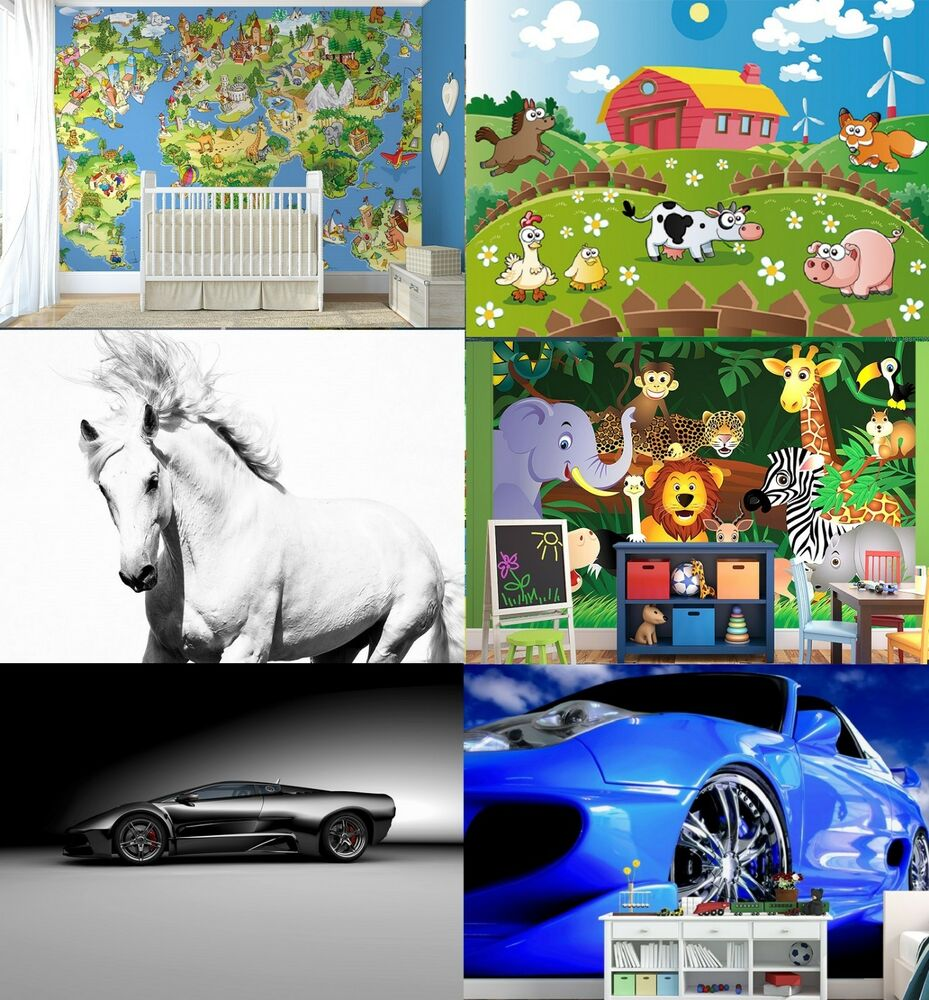 Wall murals for kids room animals cars pirates and farm for Children mural wallpaper