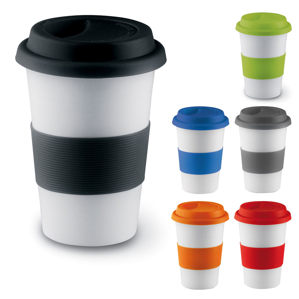 ceramic thermal insulated cup coffee tea plastic travel mug takeaway lid 400ml ebay. Black Bedroom Furniture Sets. Home Design Ideas