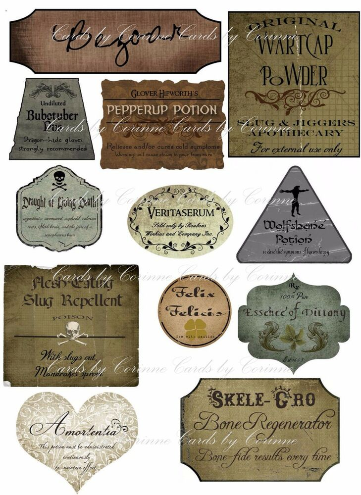 Impeccable image inside harry potter potion labels printable