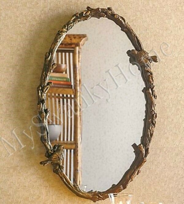 Large Bird Branch Plaza Oval 34 Wall Mirror Vanity Mantle