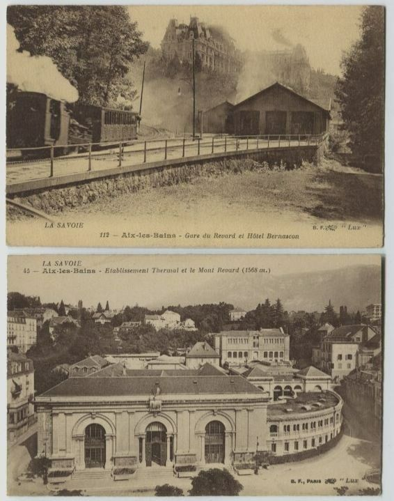 2 1910 era la savoie france aix les bains train station le gare postcards ebay. Black Bedroom Furniture Sets. Home Design Ideas