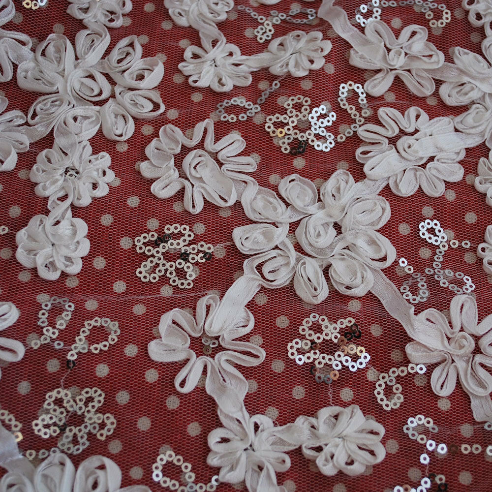 1m 3d Satin Ribbon Flower Sequin Tulle Lace Fabric Bridal