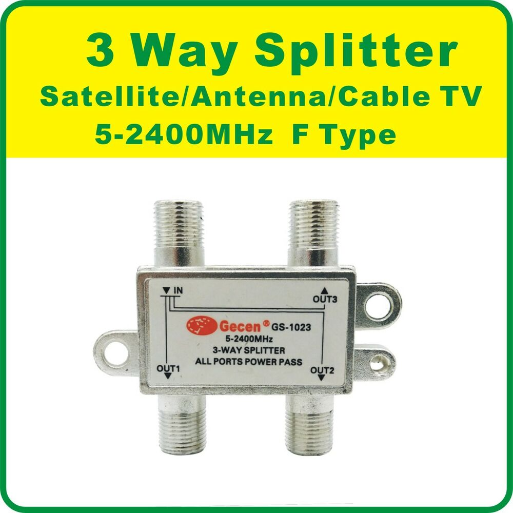 Cable Tv Splitters For Tv : Way splitter satellite antenna cable tv mhz f type