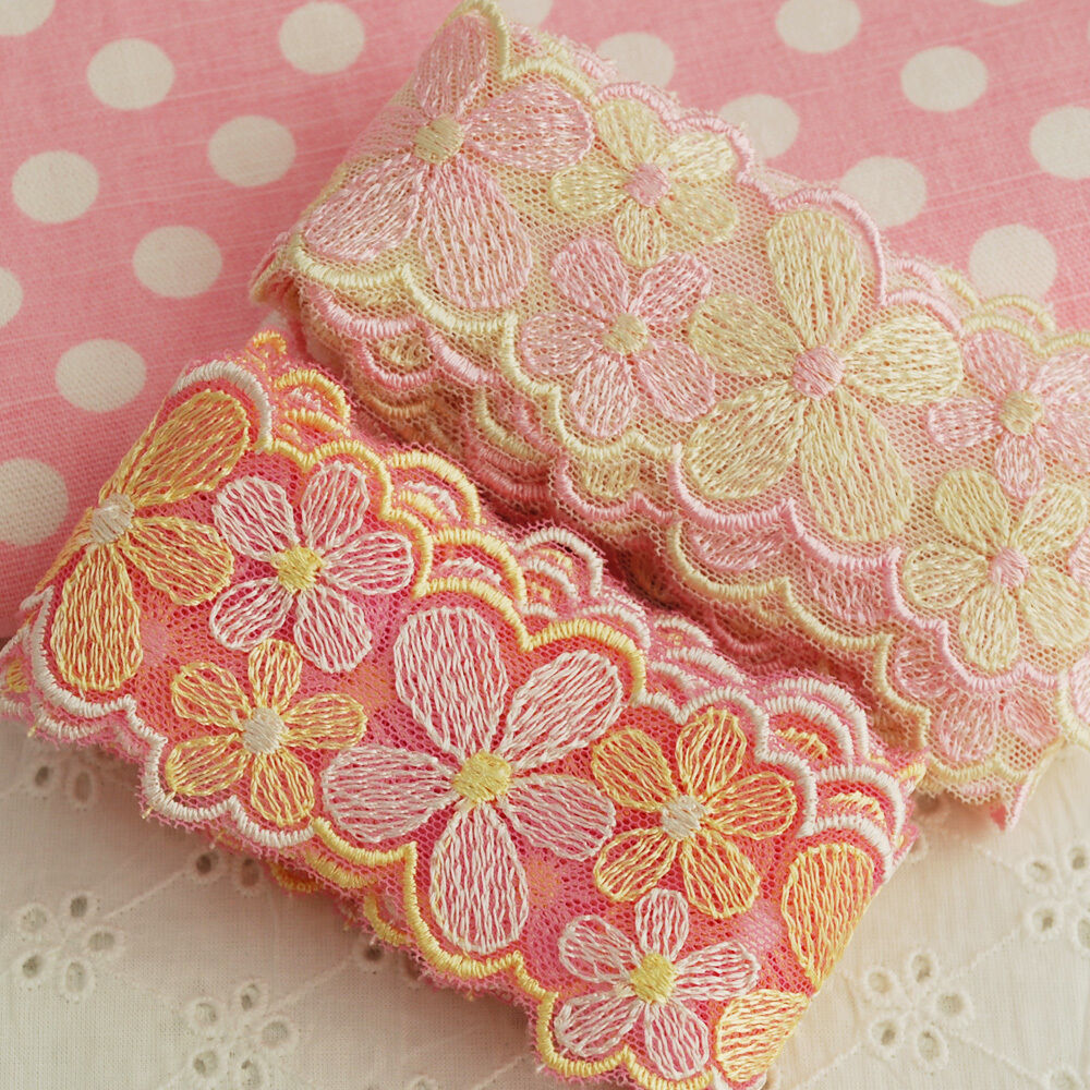 M japanese embroidery floral lace trim doll trimmings