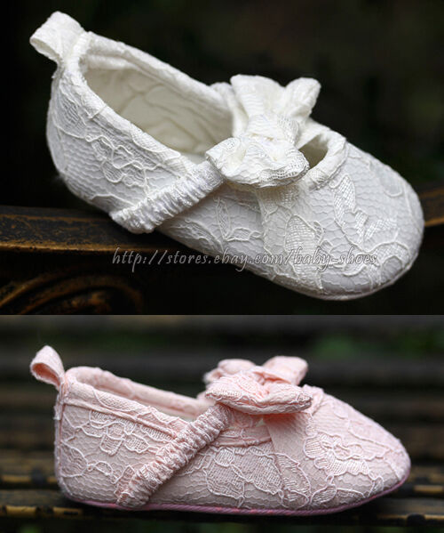 Baby Girls White & Pink Mary Jane Soft Sole Lace Bow