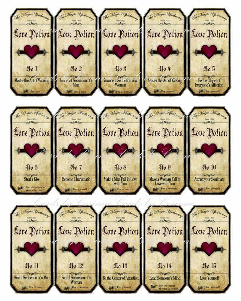Universal image with harry potter potion labels printable