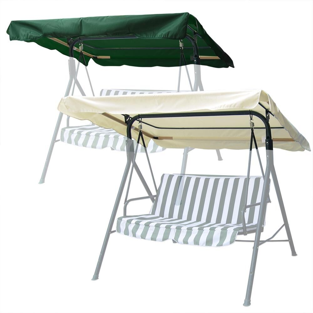 75 x 52 outdoor swing canopy top replacement cover garden patio green ivory opt ebay. Black Bedroom Furniture Sets. Home Design Ideas