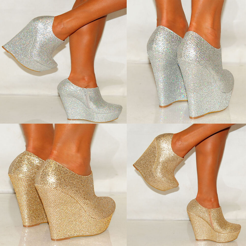 Womens Gold Platform Glitter Sparkly High Wedges Shoes